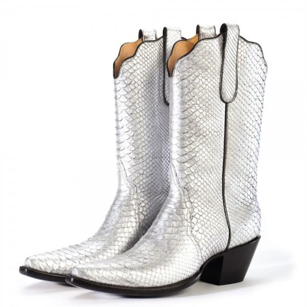 Silver Python Cowgirl Boots Chunky Heel Mid Calf Boots image 1