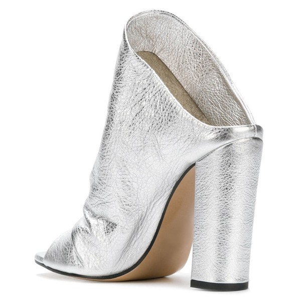 Silver Slouch Peep Toe Chunky Heels Mules image 3