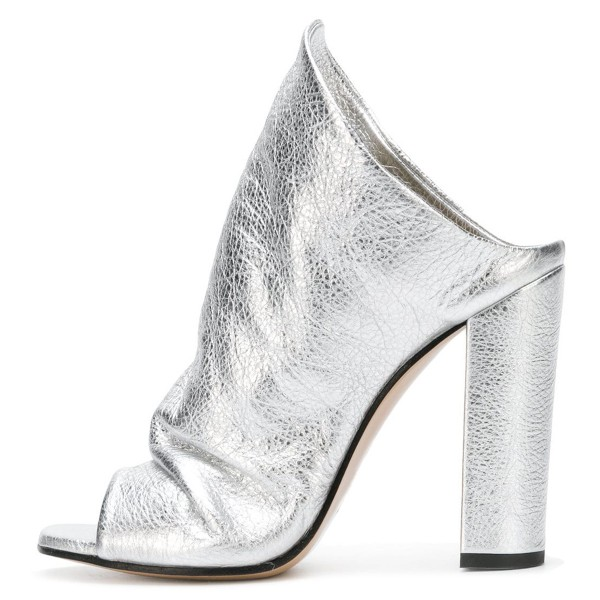 Silver Slouch Peep Toe Chunky Heels Mules image 2