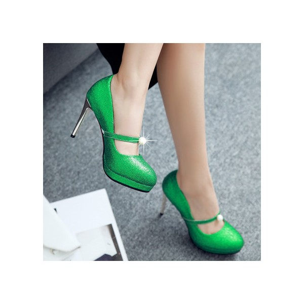 Women's Green Glitter Sttiletto Heels Pearl Almond Toe Mary Jane Shoes  image 5