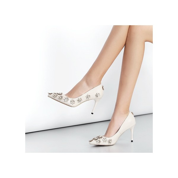White Floral Heels Pointy Toe Stiletto Heels Pumps for Honeymoon image 2