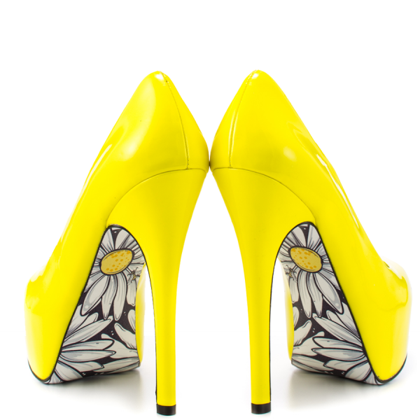 Women's Yellow Platform Heels Floral Print Almond Toe Stiletto Heel Pumps image 2