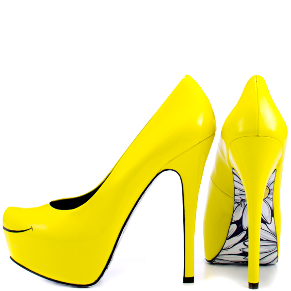 Women's Yellow Platform Heels Floral Print Almond Toe Stiletto Heel Pumps image 1