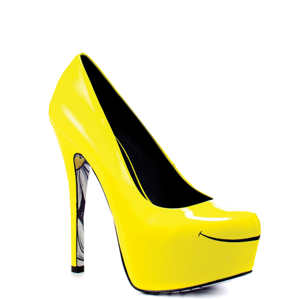 Women's Yellow Platform Heels Floral Print Almond Toe Stiletto Heel Pumps image 4