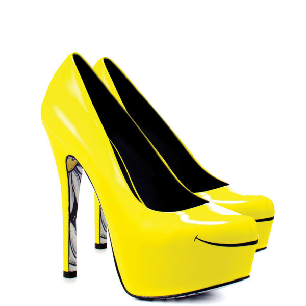Women's Yellow Platform Heels Floral Print Almond Toe Stiletto Heel Pumps image 5