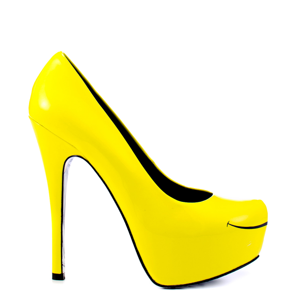 Women's Yellow Platform Heels Floral Print Almond Toe Stiletto Heel Pumps image 6