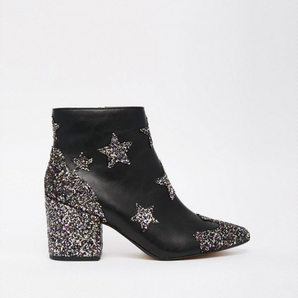 Black Star Glitter Boots Block Heel Ankle Boots image 2