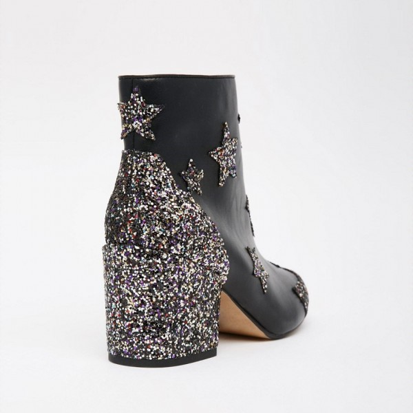 Black Star Glitter Boots Block Heel Ankle Boots image 3