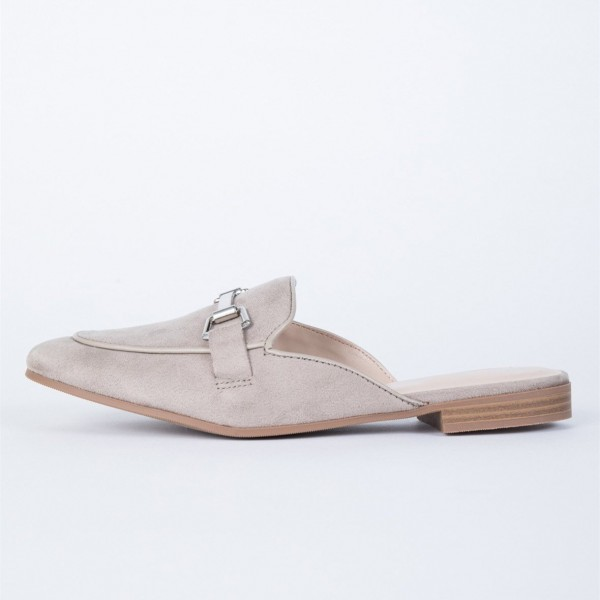 Grey Suede Loafer Mules Comfy Round Toe Flat Loafers for Women image 2