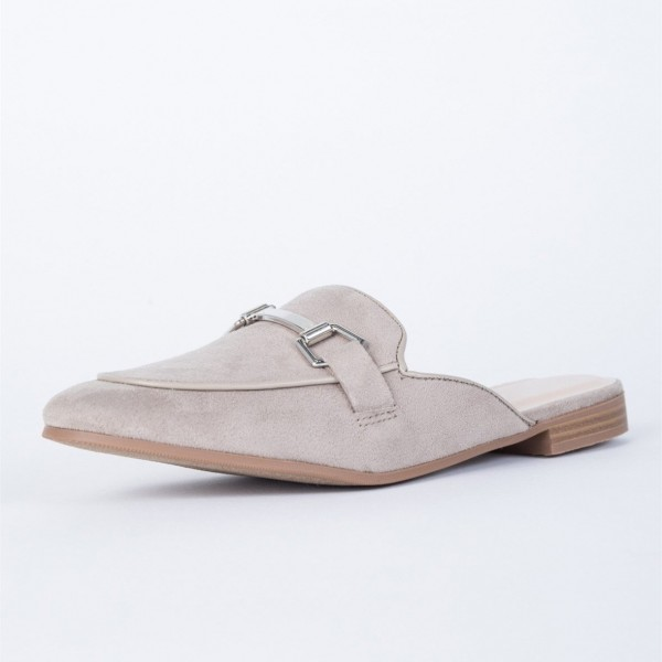 29815e9fd71 Grey Suede Loafer Mules Comfy Round Toe Flat Loafers for Women image 1 ...
