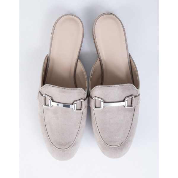Grey Suede Loafer Mules Comfy Round Toe Flat Loafers for Women image 5