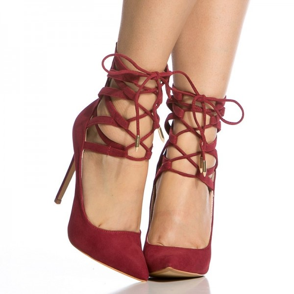 Red Strappy Heels Pointy Toe Lace up Suede Pumps Stiletto Heels image 5