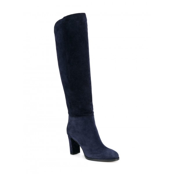Suede Navy Blue Boots Round Toe Chunky Heels Knee High Long Boots image 6