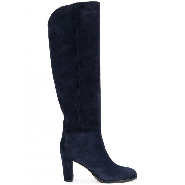 Suede Navy Blue Boots Round Toe Chunky Heels Knee High Long Boots image 5