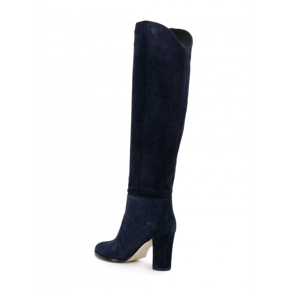 Suede Navy Blue Boots Round Toe Chunky Heels Knee High Long Boots image 3