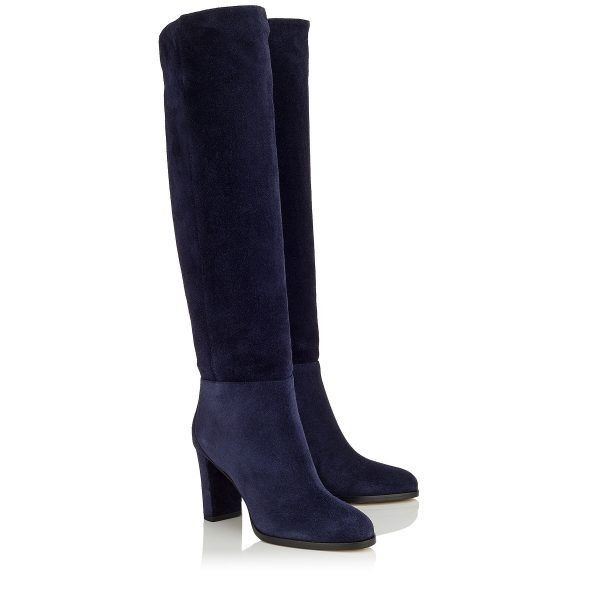 Suede Navy Blue Boots Round Toe Chunky Heels Knee High Long Boots image 2