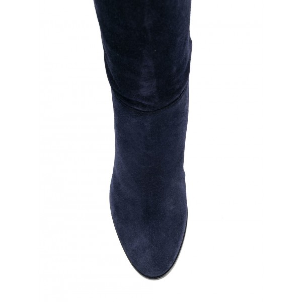 Suede Navy Blue Boots Round Toe Chunky Heels Knee High Long Boots image 4
