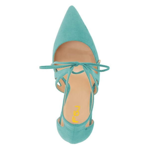 Turquoise Heels Suede Pointy Toe Cut out Lace up Stiletto Heel Pumps image 3