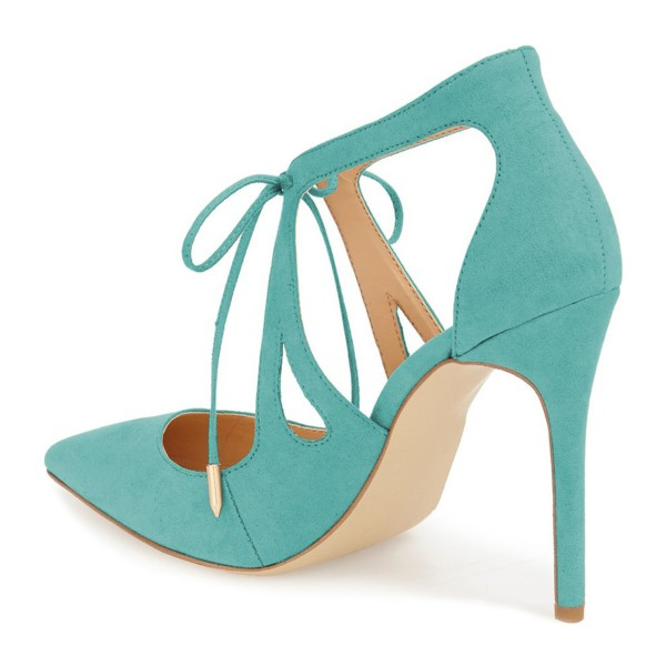 Turquoise Heels Suede Pointy Toe Cut out Lace up Stiletto Heel Pumps image 4