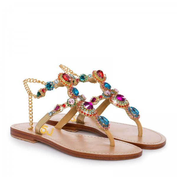 Colorful Jeweled Sandals Summer Rhinestone Flat Thong Sandals image 2