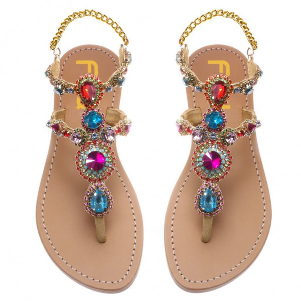 Colorful Jeweled Sandals Summer Rhinestone Flat Thong Sandals image 4