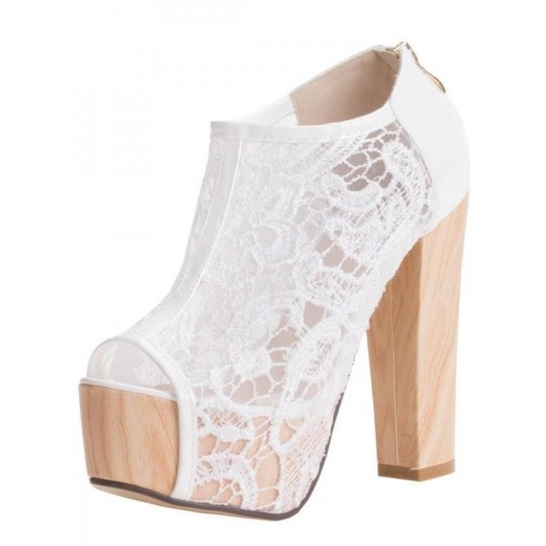 Women's White Lace Chunky Heels Wedding Shoes image 1