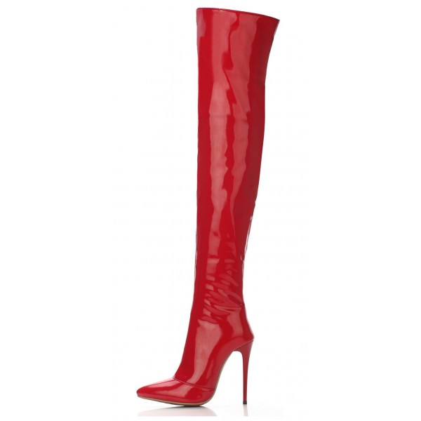 Red Long Boots Patent Leather Stiletto Heel Over-the-knee Boots image 2