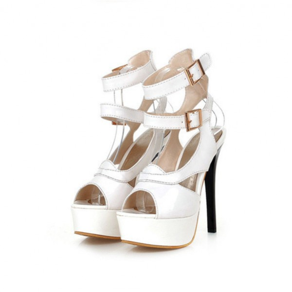Women's Lillian White Super Stiletto Heel Platform Sandals Stripper Heels image 1
