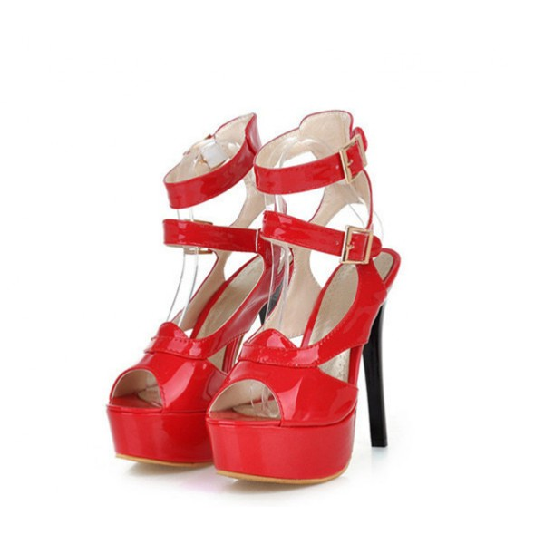 Women's Red Super Stiletto Heel Platform Stripper Heels image 1