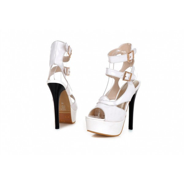 Women's Lillian White Super Stiletto Heel Platform Sandals Stripper Heels image 3