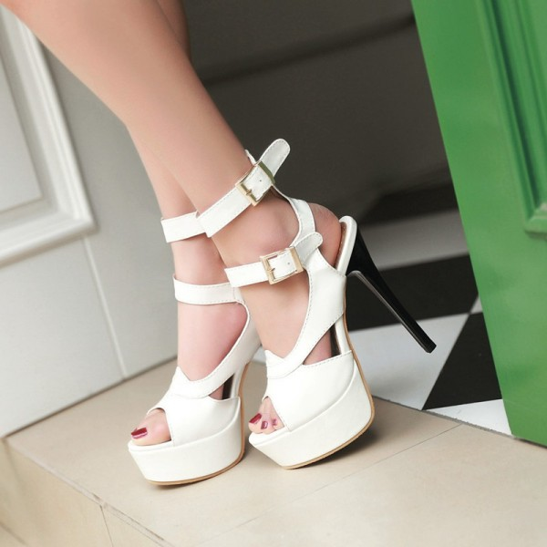 Women's Lillian White Super Stiletto Heel Platform Sandals Stripper Heels image 2