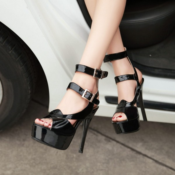 Women's Black Super Stiletto Heel Platform Stripper Heels image 2