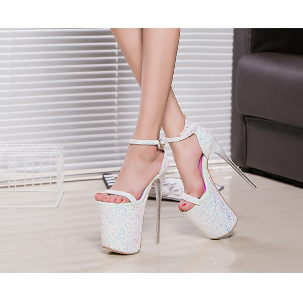 White Stripper Heels Sparkly Ankle Strap Platform High Heel Shoes image 3