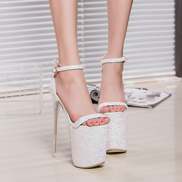 White Stripper Heels Sparkly Ankle Strap Platform High Heel Shoes image 2