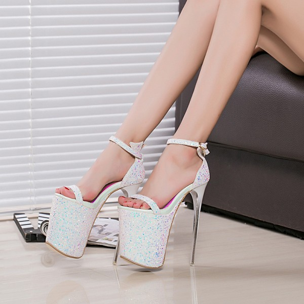 White Stripper Heels Sparkly Ankle Strap Platform High Heel Shoes image 1