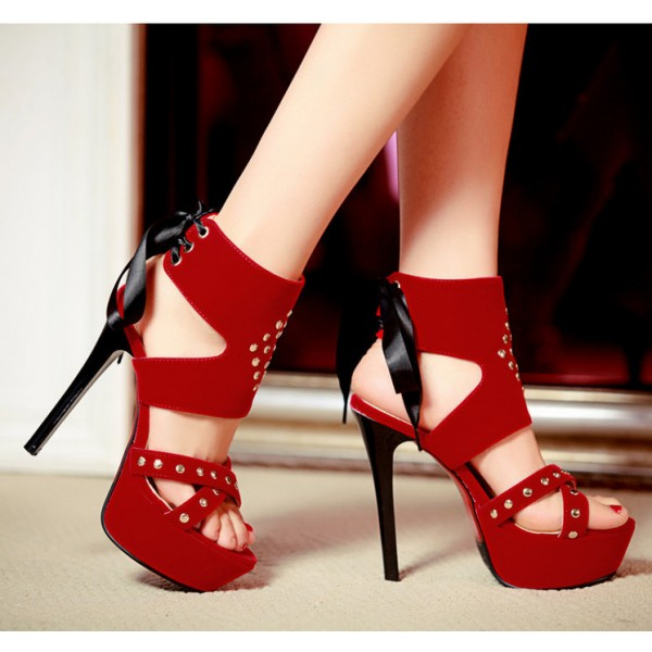 Women's Coral Red Silver Studs Super Stiletto Heel Stripper Heels image 2