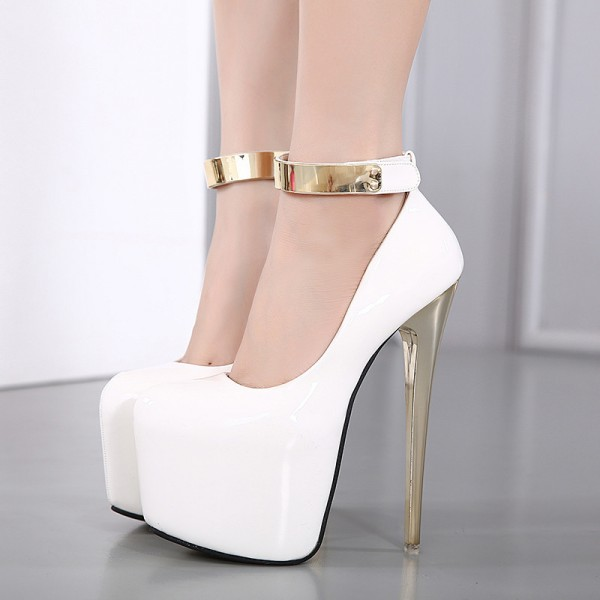 White and Gold Stripper Heels Ankle Strap High Heels Shoes for Women image 1