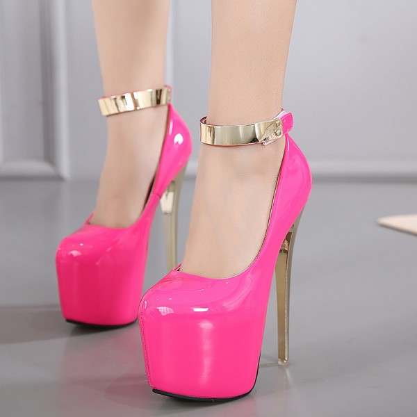 Pink Stripper Shoes Ankle Strap Super Stiletto Heels Platform Pumps image 1