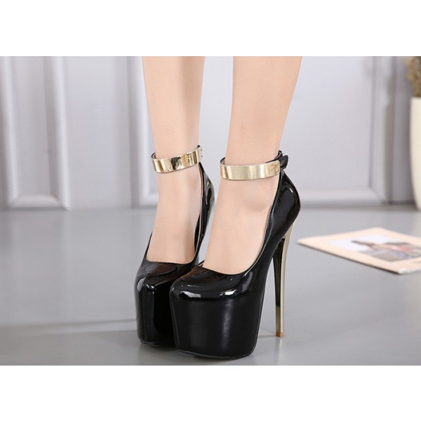Black Stripper Heels Ankle Strap Patent Leather Stiletto Heel Pumps image 3