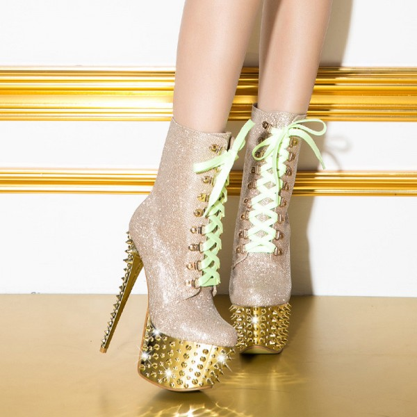 Gold and Champagne Rivets Stripper Shoes Platform Lace up Boots image 3