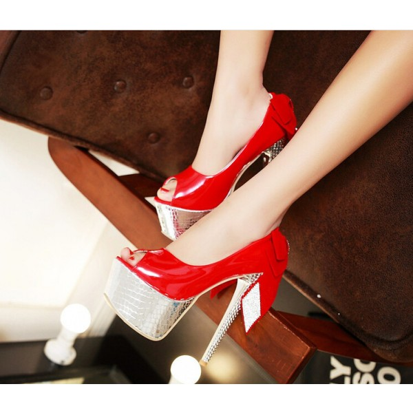 Women's Red Back Bow Super Stiletto Heel Platform Stripper Heels image 3