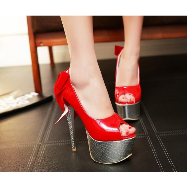 Women's Red Back Bow Super Stiletto Heels Platform Stripper Heels image 2