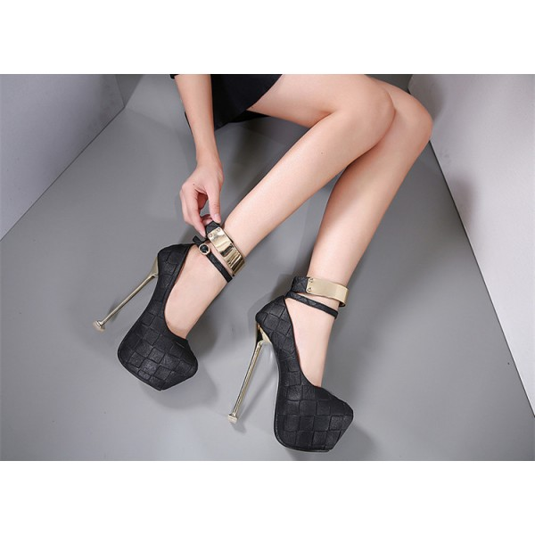 Black Sexy Shoes Ankle Strap Stiletto Heel Platform Stripper Heels image 2