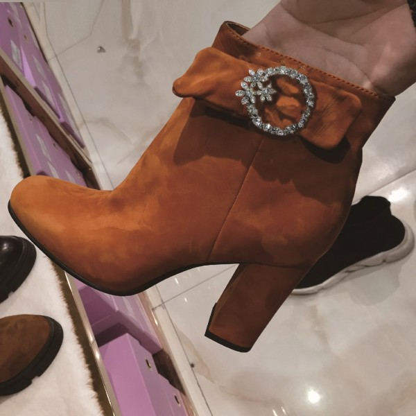 Tan Boots Round Toe Chunky Heel Ankle Boots with Rhinestone Buckle image 1