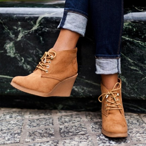 Tan Almond Toe Wedge Booties Lace Up Ankle Boots image 1