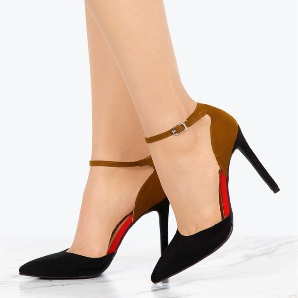 f3c69af7dcd Tan and Black Suede Pointy Toe Ankle Strap Heels Pumps for Work ...