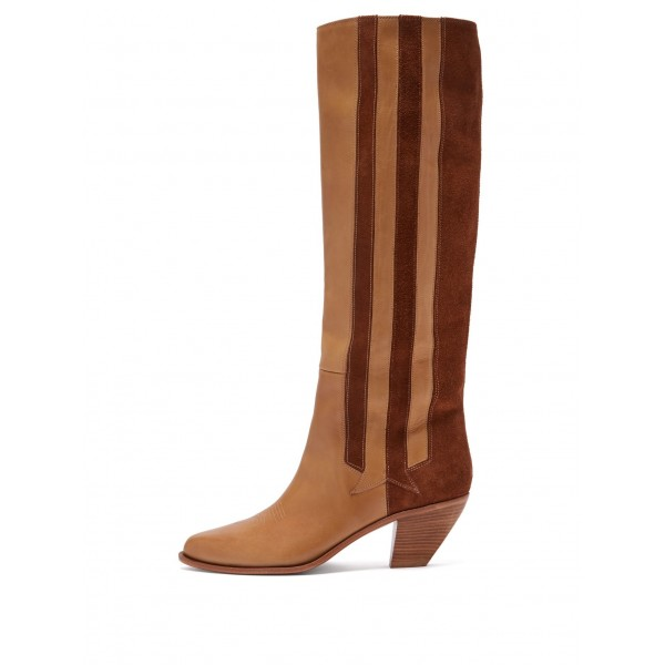 Tan and Brown Suede Straps Block Heel Vintage Boots Mid Calf Boots image 1