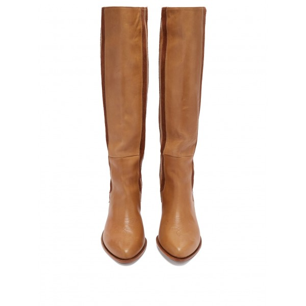 Tan and Brown Suede Straps Block Heel Vintage Boots Mid Calf Boots image 4