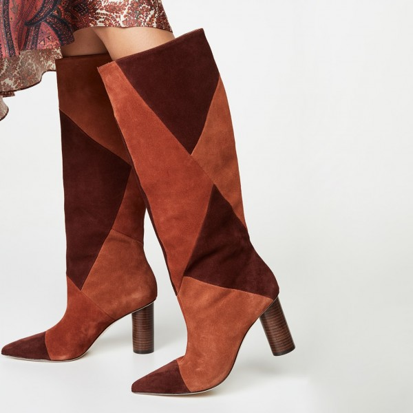 Tan and Maroon Suede Chunky Heel Boots Knee High Boots image 2