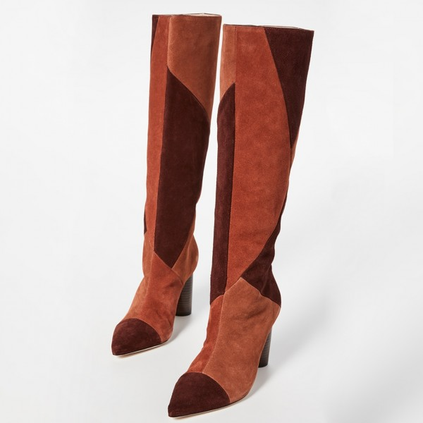 Tan and Maroon Suede Chunky Heel Boots Knee High Boots image 4